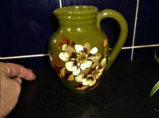 RARE ART NOUVEAU EXETER ART POTTERY JUG GREEN GLAZE HANDPAINTED FAIENCE FLORAL